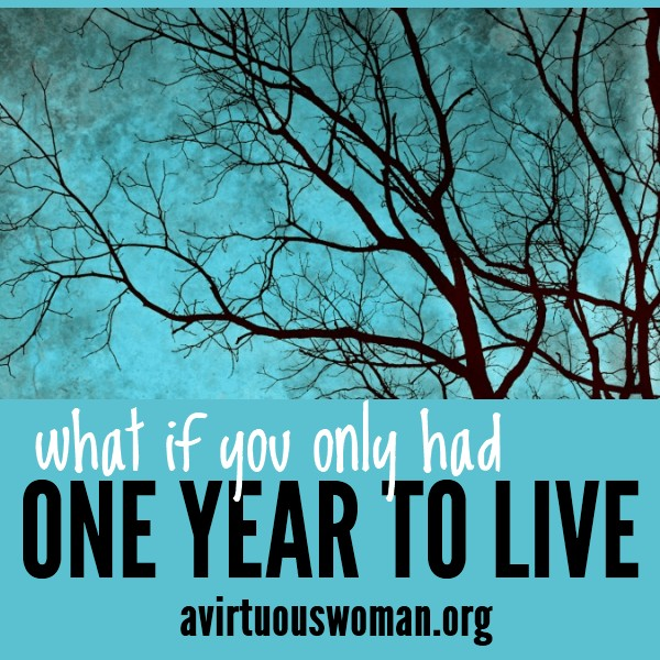 What if you only had one year to live? What would you do differently? @ AVirtuousWoman.org