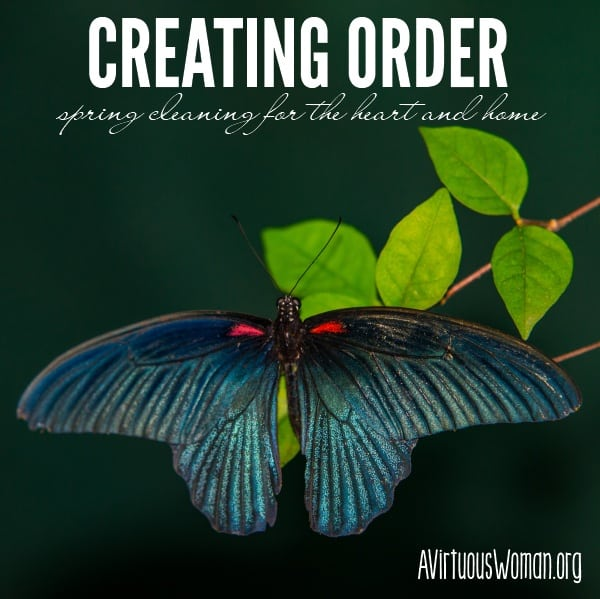 Creating Order {Spring Cleaning for the Heart and Home: Day 3} @ AVirtuousWoman.org