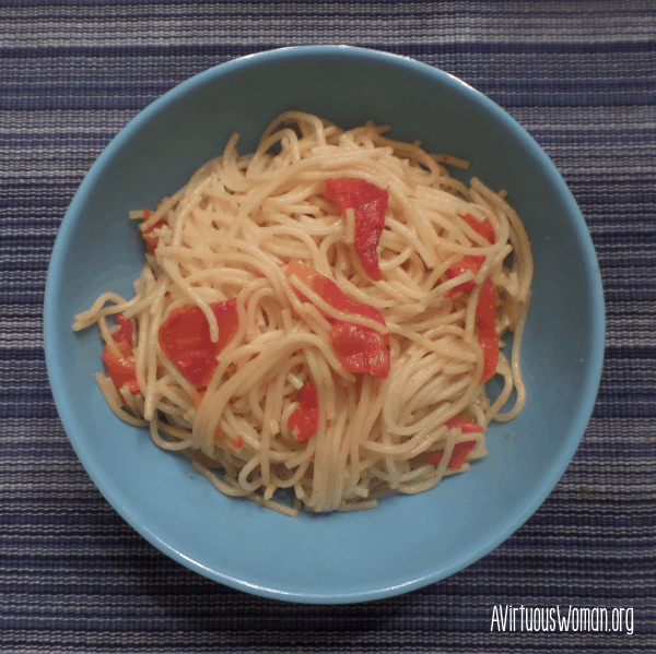 Roasted Red Peppers over Spaghetti @ AVirtuousWoman.org