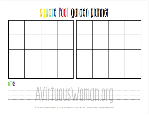 Printable Square Foot Garden Planner – Square Foot Gardening Layout Plans