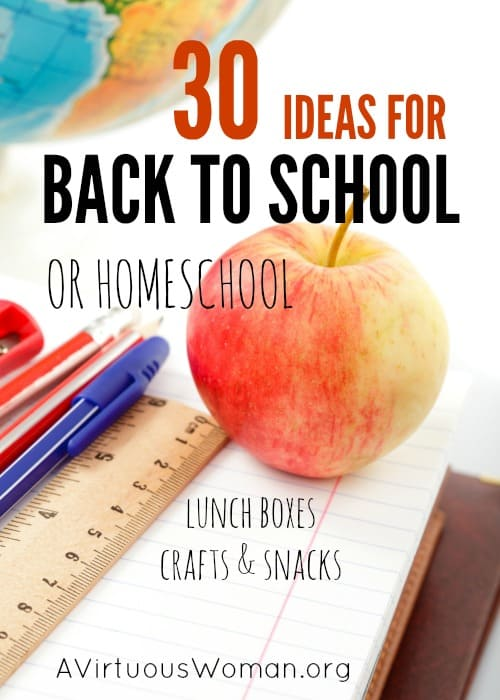 30 Ideas for Back to School or Homeschol @ AVirtuousWoman.org