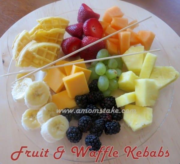 Waffle Fruit Kabob Snack Idea
