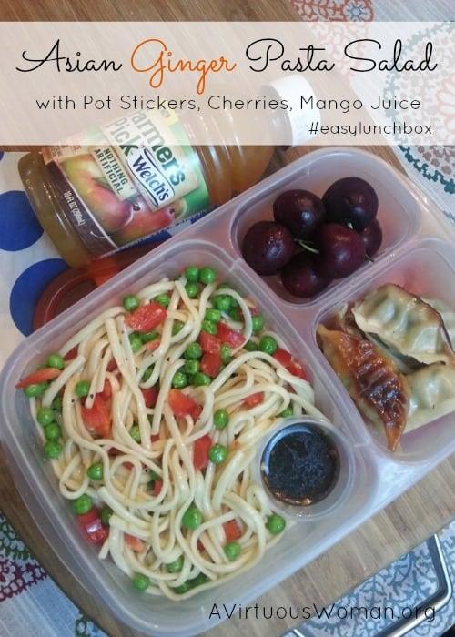 Asian Ginger Pasta Salad @ AVirtuousWoman.org #easylunchbox #vegan