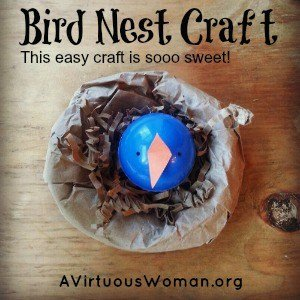 {Paper Bag} Baby Bird in a Nest Craft