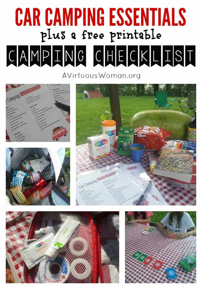Free Printable Car Camping Essentials Checkist @ AVirtuousWoman.org