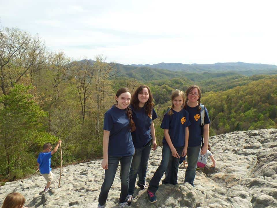 Me and my three youngest girls at the top of Knobby Rock in Harlan County KY.