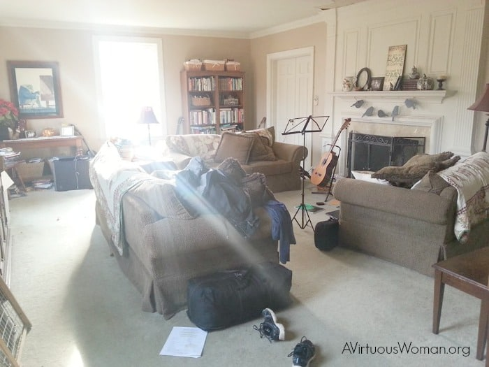 My living room... Before @ AVirtuousWoman.org #atimetoclean