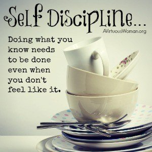 Self-disciple means doing what you know needs to be done even when you don't feel like it. {A Time to Clean: 30 Day Challenge} @ AVirtuousWoman.org