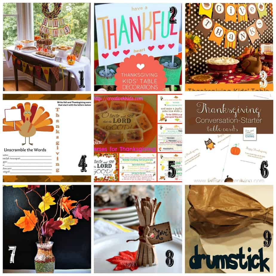Thanksgiving Kids Table Ideas .... decorations, crafts, activities, snacks & more! @ AVirtuousWoman.org