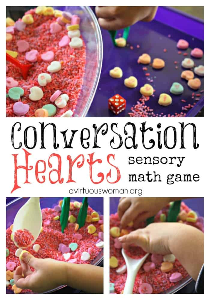 Conversation Hearts Sensory Math Game for Preschoolers @ AVirtuousWoman.org
