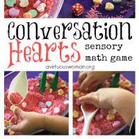 Conversation Hearts Sensory Math Game for Preschoolers @ AVirtuousWoman.org