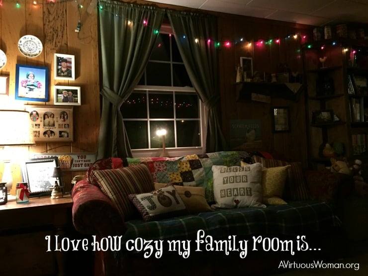 Our Cozy Family Room... @ AVirtuousWoman.org