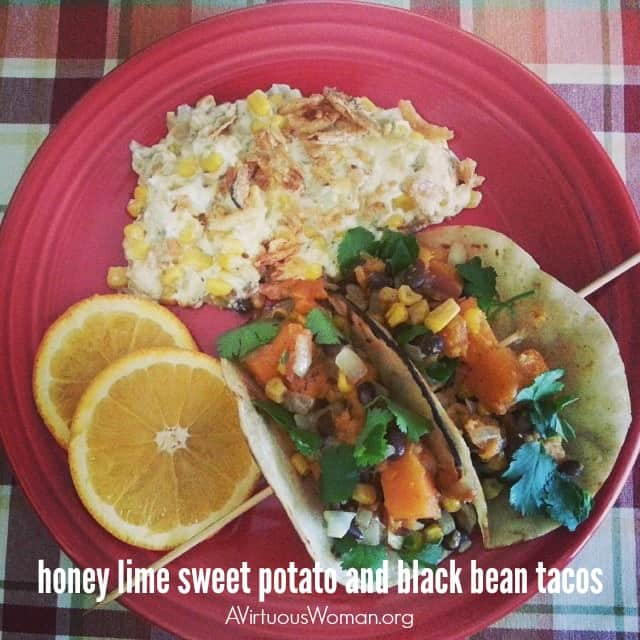 Honey Lime Sweet Potato and Black Bean Tacos @ AVirtuousWoman.org