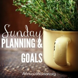 Intentional Homemaking: Sunday Planning and Goals @ AVirtuousWoman.org