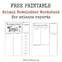 Free Printable Animal Newsletter Worksheet/ Report @ AVirtuousWoman.org #homeschool