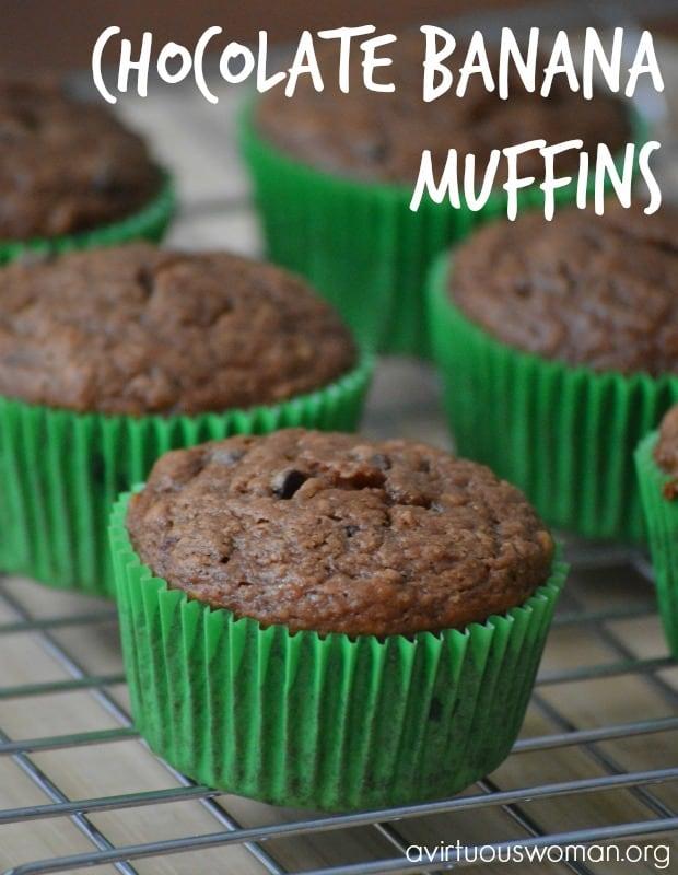 Chocolate Banana Cupcakes - or Muffins! Yum! @ AVirtuousWoman.org