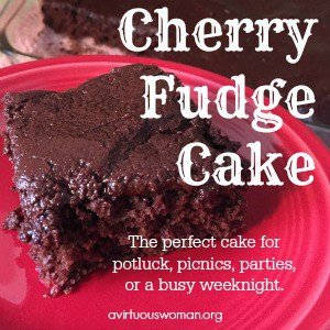 This Cherry Fudge Cake is super quick and easy to pull together. Perfect for potluck, picnics, a party, or even a busy weeknight! @ AVirtuousWoman.org