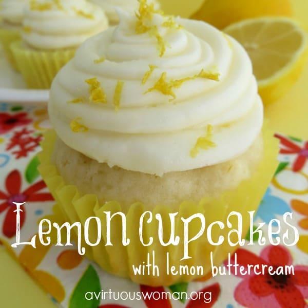 Lemon Cupcakes with Lemon Buttercream Frosting @ AVirtuousWoman.org