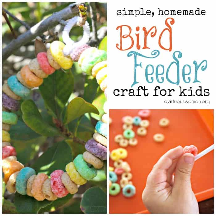 Homemade Bird Feeder Craft for Preschoolers @ AVirtuousWoman.org