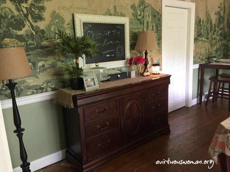 Vintage Wallpaper - Dining Room Tour @ AVirtuousWoman.org