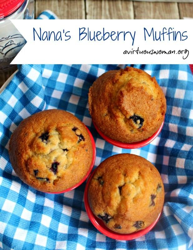 Nana's Blueberry Muffins @ AVirtuousWoman.org