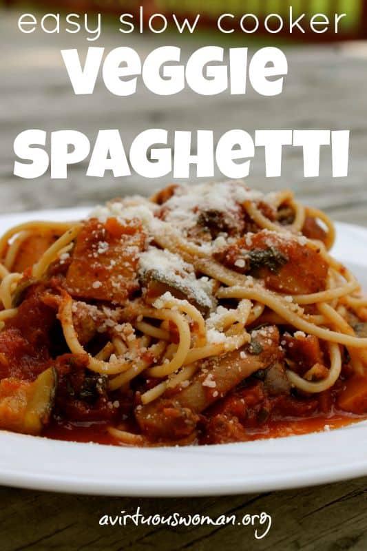 Easy Slow Cooker Veggie Spaghetti @ AVirtuousWoman.org