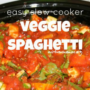 Easy Slow Cooker Veggie Spaghetti