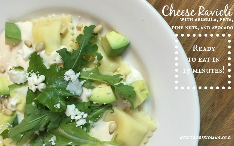 Cheese Ravioli with Arugula, Feta, Pine Nuts, and Avocado @ AvirtuousWoman.org
