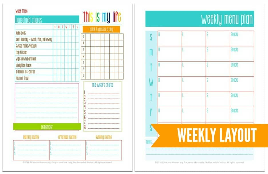 Printable 2016 Weekly Planner : Homemaker Edition