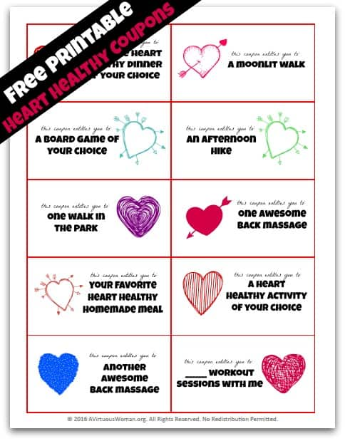 Share a gift of heart health with someone you love with these fun printable coupons! @ AVirtuousWoman.org
