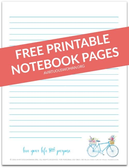 Free Printable Notebook Pages @ AVirtuousWoman.org