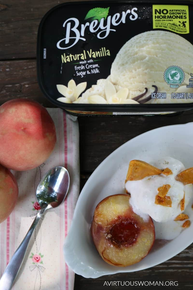 Roasted White Peaches with Honeycomb and Vanilla Ice Cream @ AVirtuousWoman.org