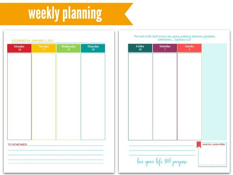 Purpose 31 Planners: Weekly Planning @ AVirtuousWoman.org