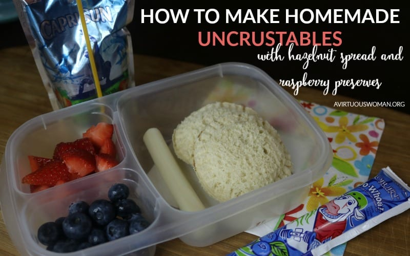 How to Make Homemade Uncrustables with Hazelnut Spread and Raspberry Preserves @ AVirtuousWoman.org
