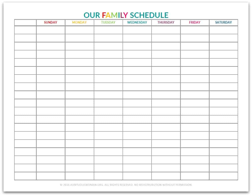 Our Family Schedule Printable @ AVirtuousWoman.org