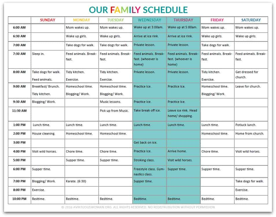 Our Family Schedule @ AVirtuousWoman.org