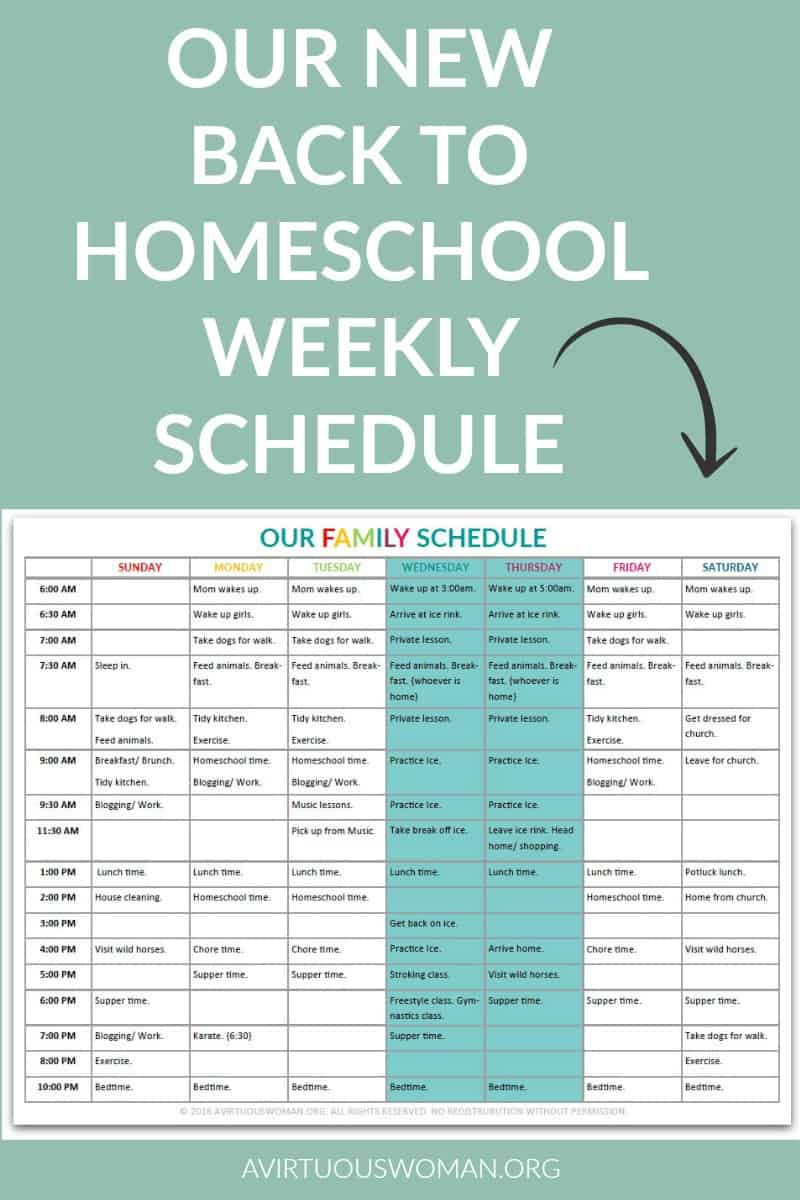 our new back to home school weekly schedule