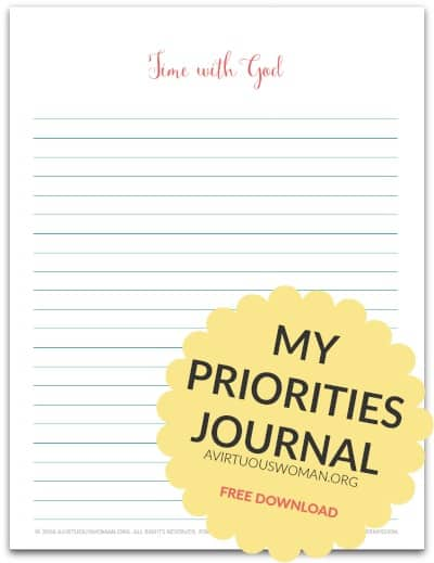 My Priorities Journal Printable @ AVirtuousWoman.org