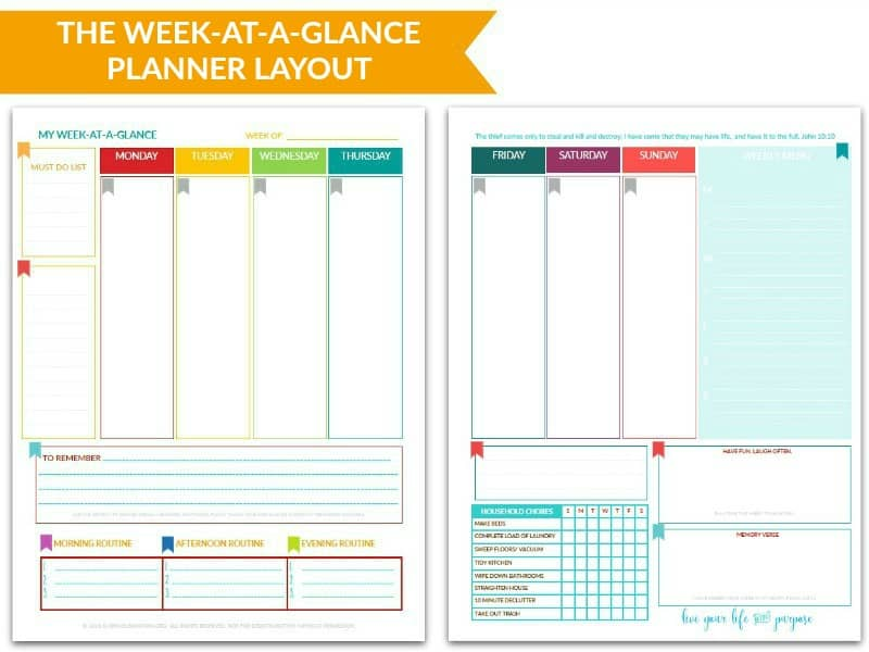 The Purpose 31 Week-at-a-Glance Planner @ AVirtuousWoman.org