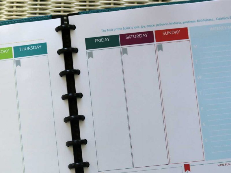 The Purpose 31 Planner Week at a Glance with Meal Planning @ AVirtuousWoman.org