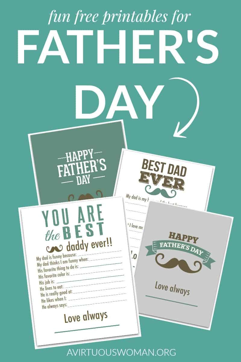 Free Printabls for Father's Day @ AVirtuousWoman.org