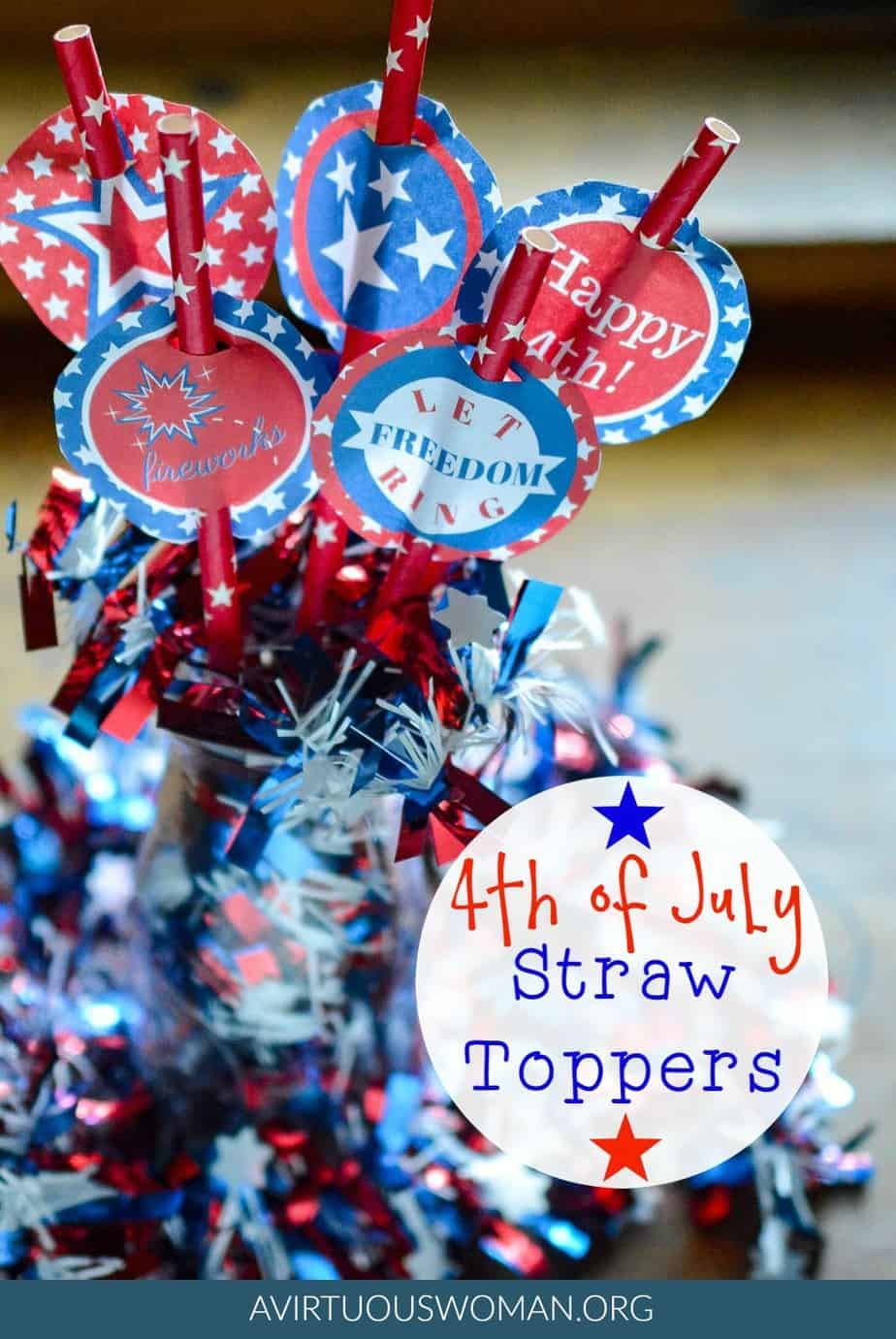 Celebrate Independence Day with these fun Free Printable 4th of July Straw Toppers @ AVirtuousWoman.org