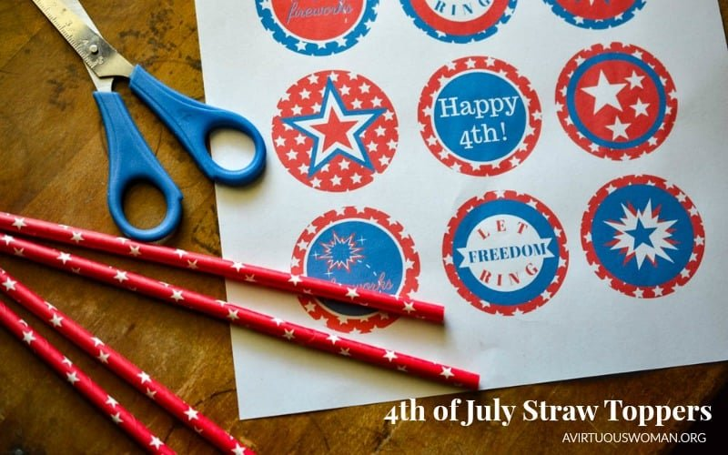 4th of July Straw Toppers: Free Printable