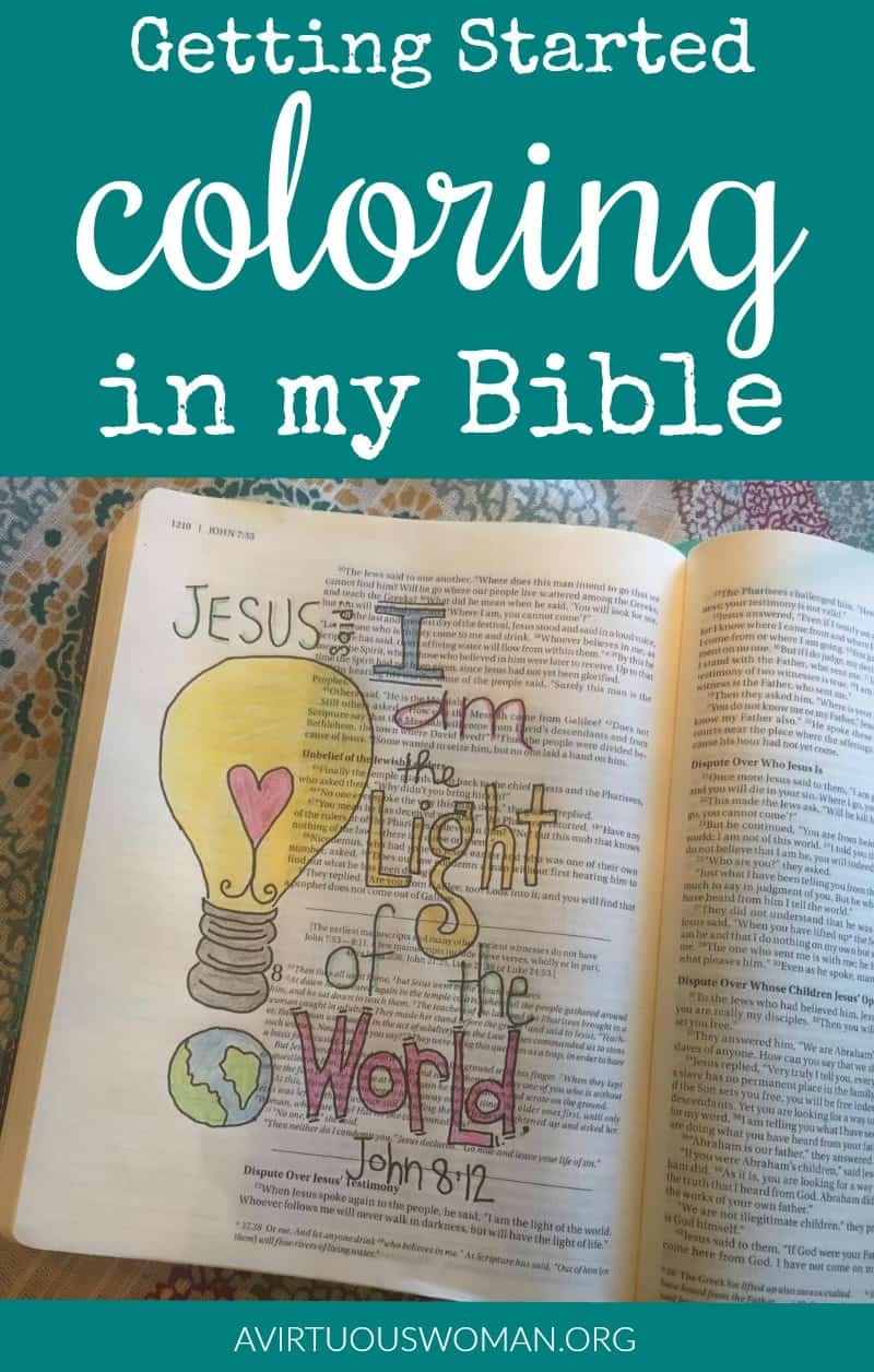 Getting Started Bible Journaling | Coloring in my Bible @ AVirtuousWoman.org