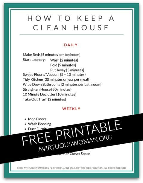 How to Keep a Clean House @ AVirtuousWoman.org