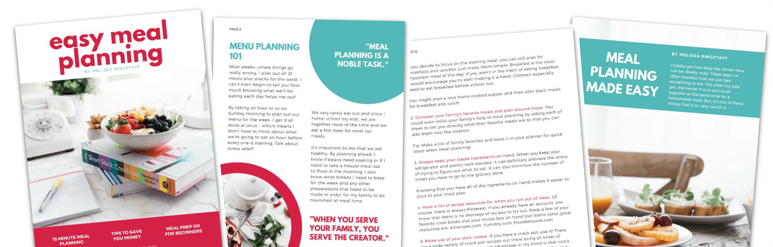 Easy Meal Planning eBook by Melissa Ringstaff @ AVirtuousWoman.org