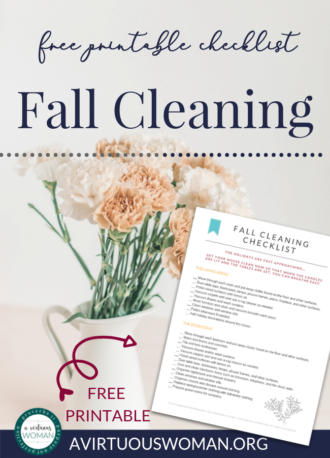 Free Printable Fall Cleaning Checklist @ AVirtuousWoman.org