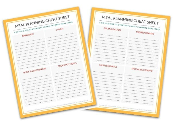 Free Printable Meal Planning Cheat Sheet @ AVirtuousWoman.org