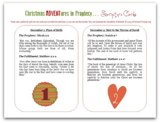 Christmas Adventures in Prophecy {Scripture Cards to Print} @ AVirtuousWoman.org