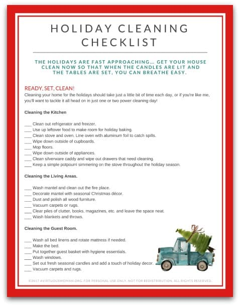 Free Printable Holiday Cleaning Checklist For Your Home